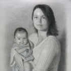 Mother & Child charcoal portrait